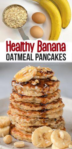 Banana Oatmeal Pancakes, Baked Oatmeal, Oatmeal Cups, Baked Oats, Breakfast Pancakes, Simple Banana Pancakes, 3 Ingredient Pancakes Banana, Flourless Banana Pancakes, Clean Eating Breakfast