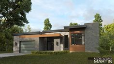 Architecture St-Martin » MAISONS NEUVES Modern Bungalow House Plans, Modern Bungalow Exterior, Modern Exterior House Designs, Exterior Design, One Level House Plans, One Level Homes, House Floor Plans, Flat Roof House, Facade House