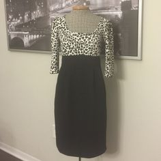 FINAL SALESexy Cheetah Print Dress Sexy cheetah print dress by London Times. Black and white with brown spots. Size 10. Like new condition. London Times Dresses Midi
