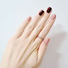 Cherry and nude colour nail arts