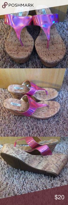 Pink Metallic wedges Never worn! Adorable & comfy! Say 10 but fit me (8 1/2). Simply Vera Vera Wang Shoes