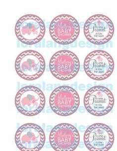 DIY Printable Little Peanut Baby Shower Cupcake Toppers - http://babyshower-cupcake.com/diy-printable-little-peanut-baby-shower-cupcake-toppers/