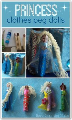 Turn some clothes pegs into princesses in this fun kids craft. Great idea to use photos of the kids too! Fun Crafts For Kids, Craft Activities For Kids, Diy Arts And Crafts, Crafts To Make, Diy Crafts, Preschool Ideas, Craft Ideas, Homemade Art, Clothes Pegs