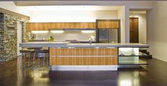 Fancy Light Filled Modern Kitchens Design Stone Wall Accents