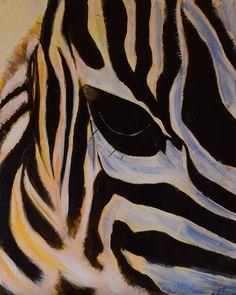Acrylic closeup of a zebra - sweet!