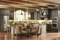 an example of incorporating the banquette into the island so you can see the views and open up the back wall and traffic flow Classic Kitchens - traditional - kitchen - salt lake city - Chris and Dick's Kitchen Island With Bench Seating, Corner Kitchen Tables, Large Kitchen Island, Kitchen Benches, Kitchen Islands, Island Table, Island Chairs, Plywood Kitchen, Kitchen Layout