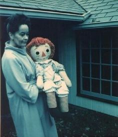 Lorraine Warren with Annabelle the Doll. The Doll was a Raggedy Ann that latched itself onto the Perron family.