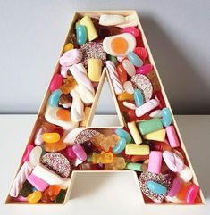 Any letter with your choice of up to 10 types of sweet! We can also do the '&' symbol, making the perfect wedding or anniversary gift! Candy Letters, Letters And Numbers, Diy Birthday, Birthday Gifts, Candy Gift Box, Sweet Box, Wedding Giveaways, Relationship Gifts, Toffee