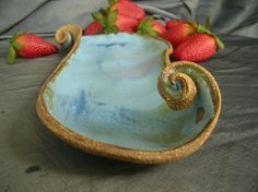 Ceramic Serving Tray with Curves in Denim by clayshapergallery, $30.00