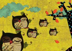 owls by Lucie van Roosebeke