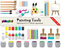 Industrial Painting Tools Clip Art