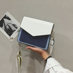 White and Navy Contrast Envelope Style Mini Crossbody Bags Fashion Handbags, Purses And Handbags, Fashion Bags, Street Style Outfits, Trendy Purses, Sacs Design, Accesorios Casual, Mini Crossbody Bag, Casual Bags