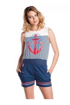 Mono corto de punto y loneta elástica con motivos marineros - MUJER   Rosalita McGee #rosalitamcgee #moda #mujer #única #diferente #original #fashion #navy