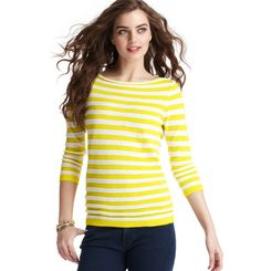 Petite Striped 3/4 Sleeve Cotton Sweater - Blazing Yellow  Size: XS  Price: $44.50