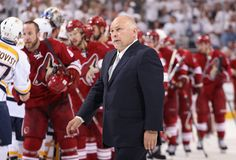 Head coach Barry Trotz of the Nashville Predators reacts after being defeating by the Phoenix Coyotes in Game Five of the Western Conference Semifinals during the 2012 NHL Stanley Cup Playoffs at Jobing.com Arena on May 7, 2012 in Glendale, Arizona. The Coyotes defeated the Predators 2-1 to win the series 4 games to 1. (Photo by Christian Petersen/Getty Images)