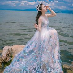 Thương suri° Blue And White Dress, Beautiful Prom Dresses, Pretty Dresses, Butterfly Dress, Fairy Dress, Luxury Dress, Tulle Dress, Dress Skirt, Pretty Korean Girls