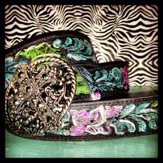 Hand Painted Leather Belt on Etsy, $55.00