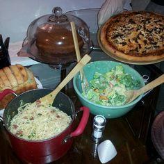 My pasta carbonara, pizza, garlic bread, and Caesar salad