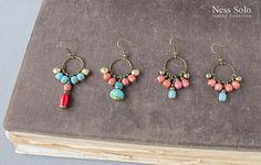 Bohemian jewelry Beaded boho earrings Cluster earrings Gypsy