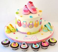Baby Shower Cake n Cupcakes  By ShamsD on CakeCentral.com