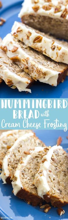 This easy hummingbird bread recipe is full of the flavors of the classic southern cake! This simple quick bread recipe is filled with sweet flavor, and is topped with the best cream cheese frosting! It's like tropical banana bread meets nutty banana cake!