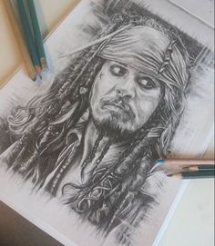 Jack Sparrow portrait with pencils. Pirates of Caribbean Drawing. Disney Art. Johny Depp.  By @erika_horn.art