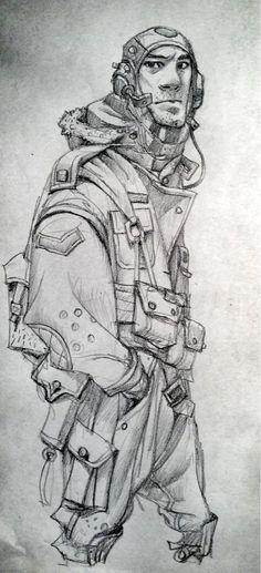 "Very cool draft of a retro futuristic pilot. #scifi #illustration ""Lightship Pilot: - Ian Mcque"""