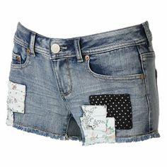 SO Floral Patch Denim Shortie Shorts - Juniors