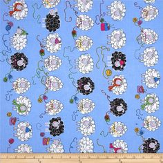 Kanvas Knitty Sheep Blue from @fabricdotcom  Designed by Greta Lynn for Kanvas, in association with Benartex, this cotton print fabric is perfect for quilting, apparel, crafts, and home decor items. Colors include white, black, yellow, green, purple, orange, and periwinkle blue.