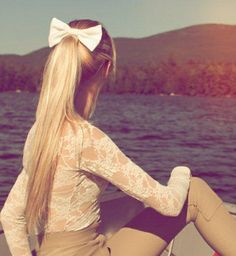 Long, Straight Pony Tail with Bow <3