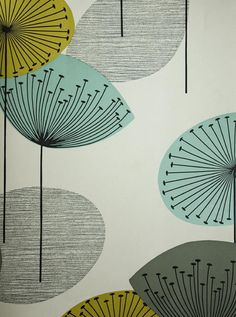 Dandelion Clocks Wallpaper Stone wallpaper with dandelion clocks in aqua, lime and grey