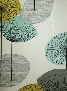 Dandelion Clocks Wallpaper Stone wallpaper with dandelion clocks in aqua, lime and grey