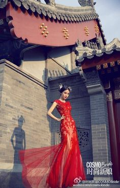 Beautiful pairing of this gorgeous red wedding gown with a modern take on traditional Chinese bridal hair accessories as seen on Angelababy for COSMOBr Red Wedding Gowns, Wedding Dresses Photos, Classic Wedding Dress, Traditional Wedding Dresses, Traditional Outfits, Traditional Chinese, Cheongsam Wedding, Beautiful Red Dresses, Pakistani Bridal Dresses