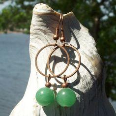 Merry Making Earrings  green aventurine stone  by MySoulCanDance.etsy.com $8.00