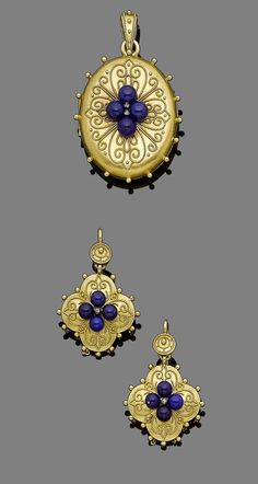 A gold and lapis lazuli locket pendant and earring suite, circa 1870.  The oval gold locket centrally-set with four lapis lazuli beads and rose-cut diamond highlights, decorated throughout with ropetwist and beading detail, opening to reveal a glazed compartment, accompanied by a pair of pendant earrings en suite, earrings later converted, lengths: pendant 5.2cm, earring 3.7cm