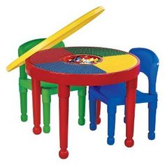 Tot Tutors Round Plastic Construction Table, 2 Chairs