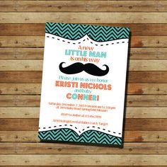 Mustache Baby Shower Boy Invitation (digital file)