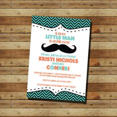 Mustache Baby Shower Boy Invitation (digital file)