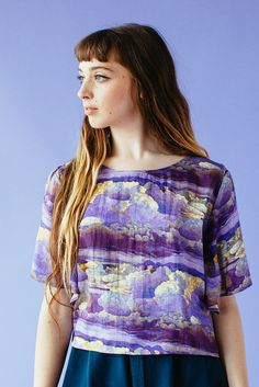 Floating Blouse in Storm print