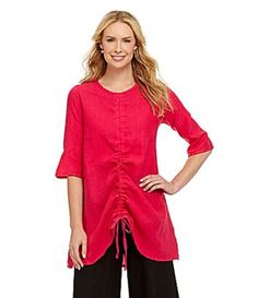 NWT-Bryn-Walker-Halo-Pink-Flax-Linen-Josie-Ruched-Tunic-Top-M