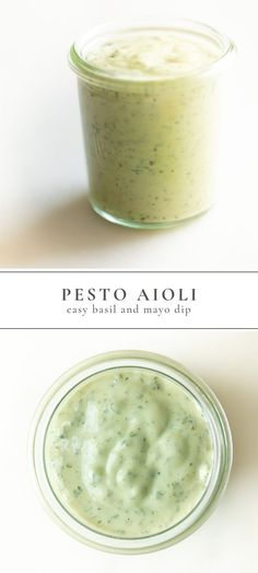 This quick and simple basil aioli is a pesto mayo dip and spread that's perfect for burgers, fries, grilled vegetables and all of your dipping needs. The easiest pesto aioli with just four simple ingr Sauce Pesto, Pesto Dip, Basil Sauce, Mayo Sauce, Basil Aioli Recipe, Aoili Recipe, Ketchup, Sauce Recipes, Cooking Recipes