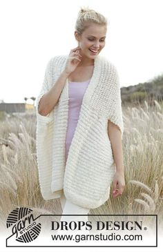 Mena / DROPS 148-34 - Knitted DROPS vest - jacket in Alpaca Bouclé and Lace. Size: S - XXXL.