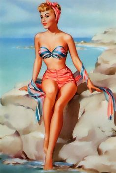 Vintage Pin Up Girl Poster//Art Print// At the Beach//Bathing Suit Pin Up Girl17x22