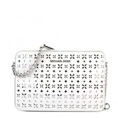 Jet Set Travel White Perforated Crossbody Bag (940 PLN) ❤ liked on Polyvore featuring bags, handbags, shoulder bags, leather handbags, leather purses, leather shoulder bag, white crossbody and leather crossbody