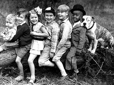 """Likelyone of the best known dogs in silent movie comedy was Petey the Pit bull, the constant companion of """"Our Gang"""", better known as the Little Rascals. Description from pinterest.com. I searched for this on bing.com/images"""