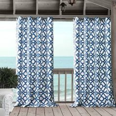 Elrene Home Fashions Marin Indoor/Outdoor Grommet Window Curtain Panel x 1 Rod Pocket Curtains, Grommet Curtains, Drapes Curtains, Coastal Curtains, Colorful Curtains, Velvet Drapes, Window Panels, Curtain Panels, Flower Room