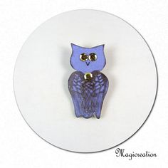 broche hibou de soie violet - Boutique www.magicreation.fr
