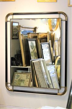 Contemporary Brass and Wooden Framed Mirror - A stained ash frame with brass corners. 🤩 Click the link to contact us for more information about our bespoke mirrors! 😃 Bath Design, Somerset, Four Seasons, Contemporary Mirrors, Brass, Bespoke, Link, Taylormade, Restroom Design