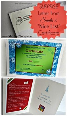 Surprise Letter from Santa Claus & Official Nice List Certificate - Such a cute idea for the kids to receive a few weeks before Christmas! www.MePlus3Today.com