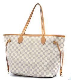 Louis Vuitton Neverfull MM Damier Azur Tote Shoulder Bag